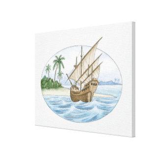 Illustration of 16th Century ship near island Canvas Print