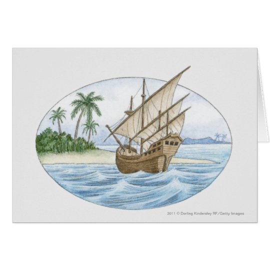 Illustration of 16th Century ship near island Card