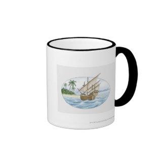 Illustration of 16th Century ship near island Coffee Mugs