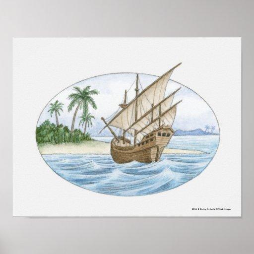 Illustration of 16th Century ship near island Print