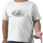Illustration of 16th Century ship near island T Shirt