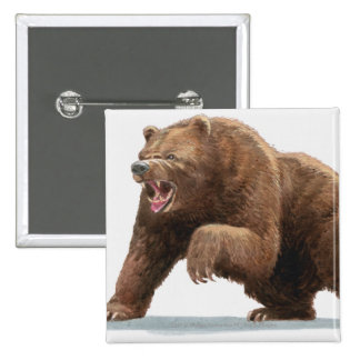 Illustration of a Brown bear 2 Inch Square Button