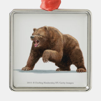 Illustration of a Brown bear Metal Ornament