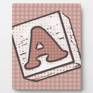 Illustration of a child's wooden block letter A Plaque
