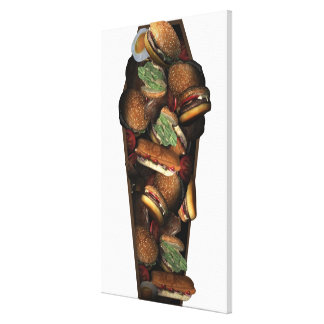 Illustration of a coffin filled with fast food stretched canvas print