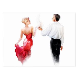 Illustration of a couple dancing tango postcard