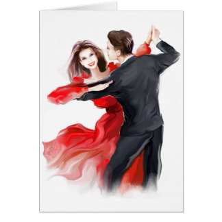 Illustration of a couple dancing waltz card