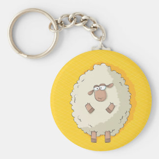 Illustration of a cute and funny giant sheep basic round button keychain