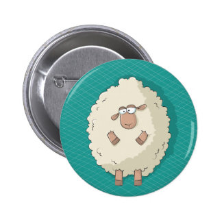 Illustration of a cute and funny giant sheep pinback buttons