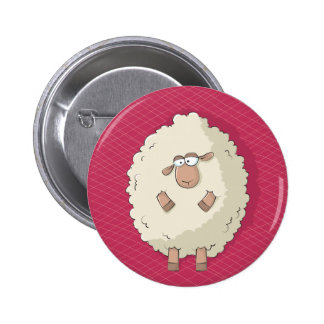 Illustration of a cute and funny giant sheep button
