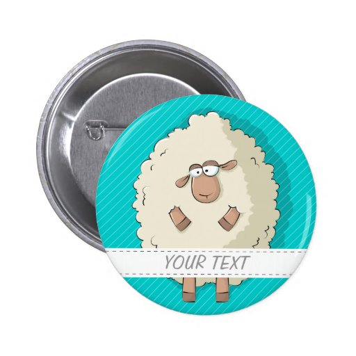Illustration of a cute and funny giant sheep pinback button