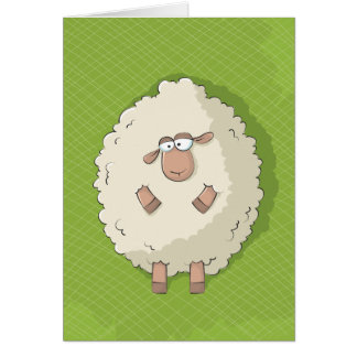 Illustration of a cute and funny giant sheep card