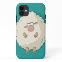 Illustration of a cute and funny giant sheep iPhone 11 case