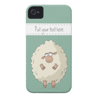 Illustration of a cute and funny giant sheep iPhone 4 Case-Mate case