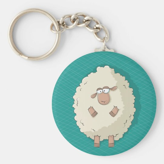 Illustration of a cute and funny giant sheep keychain