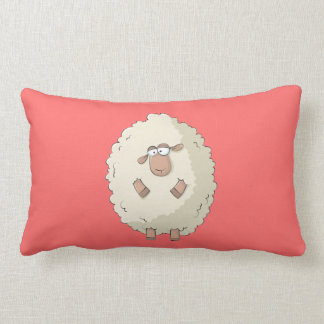 Illustration of a cute and funny giant sheep lumbar pillow