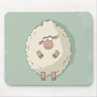 Illustration of a cute and funny giant sheep mouse pad