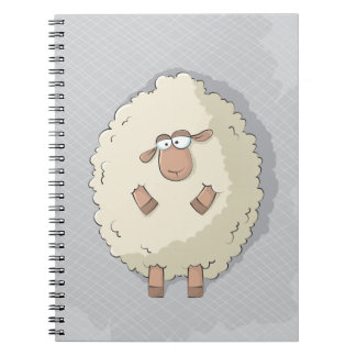 Illustration of a cute and funny giant sheep spiral note books