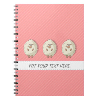 Illustration of a cute and funny giant sheep spiral notebook