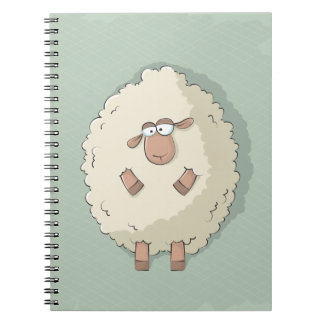 Illustration of a cute and funny giant sheep spiral notebooks