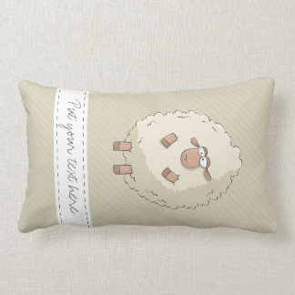 Illustration of a cute and funny giant sheep throw pillows