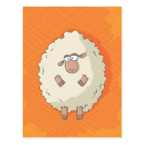 Illustration of a cute and funny giant sheep postcard