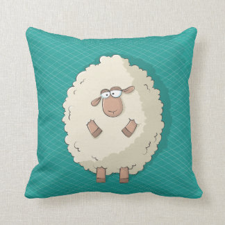 Illustration of a cute and funny giant sheep throw pillow