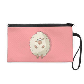 Illustration of a cute and funny giant sheep wristlet clutch