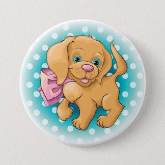 Illustration of a cute dog spaniel button