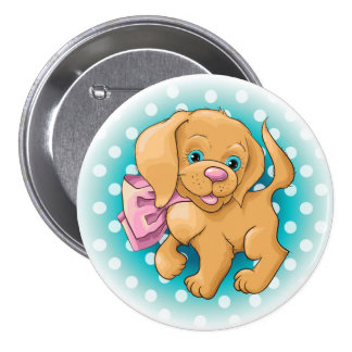 Illustration of a cute dog spaniel button