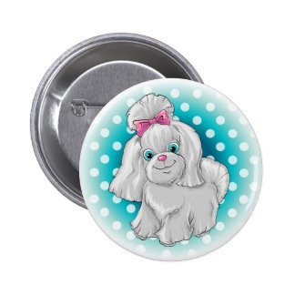 Illustration of a cute dog yorkshire terrier button