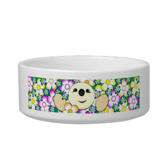 Illustration of a Cute round creature with flowers Bowl