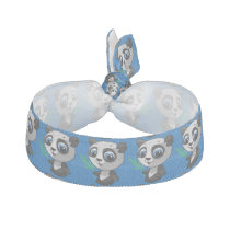 Illustration of a cute wild panda with bamboo hair tie