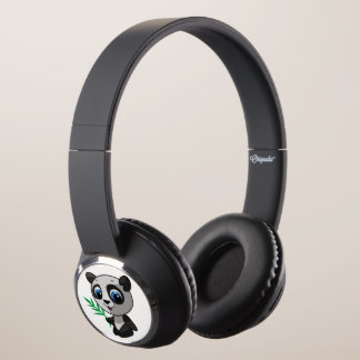 Illustration of a cute wild panda with bamboo headphones