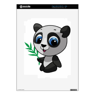 Illustration of a cute wild panda with bamboo iPad 2 decal