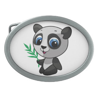 Illustration of a cute wild panda with bamboo oval belt buckle