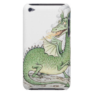 Illustration of a dragon spitting fire barely there iPod cover