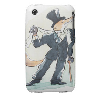 Illustration of a fox dressed in suit and top iPhone 3 cover