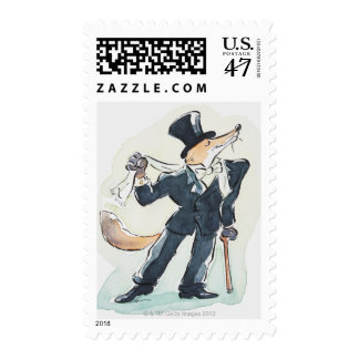 Illustration of a fox dressed in suit and top postage