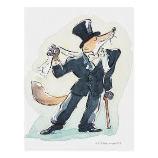 Illustration of a fox dressed in suit and top postcard