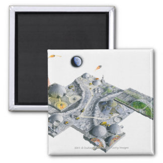 Illustration of a futuristic base on the Moon 2 Inch Square Magnet