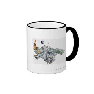 Illustration of a futuristic base on the Moon Mugs
