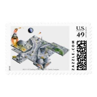 Illustration of a futuristic base on the Moon Postage