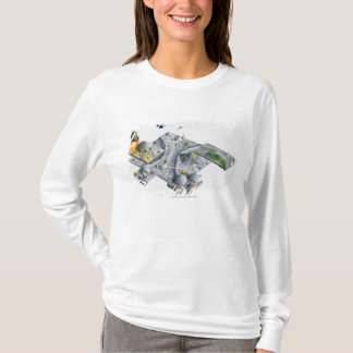 Illustration of a futuristic base on the Moon T-Shirt