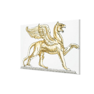 Illustration of a griffin statue canvas print