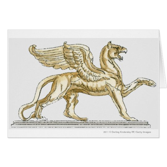 Illustration of a griffin statue card