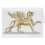 Illustration of a griffin statue greeting card