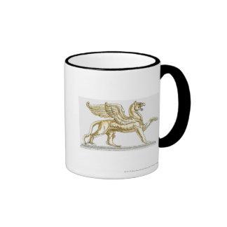 Illustration of a griffin statue mug
