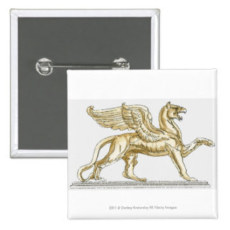 Illustration of a griffin statue pinback button