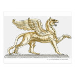 Illustration of a griffin statue post card